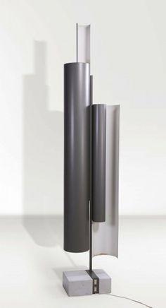 Anonymous; Enameled Aluminum and Carrera Marble Floor Lamp by Lumi, c1970.