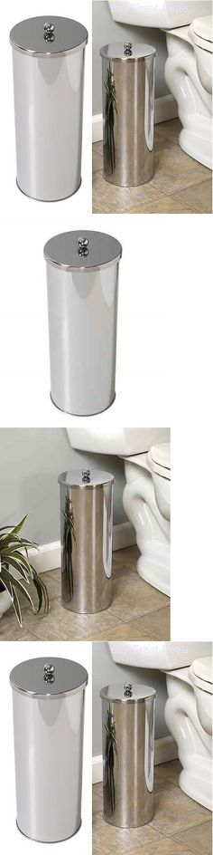 Toilet Paper Holders Mounted 32876: Toilet Paper Holder Roll Canister  Bathroom Storage Tissue Chrome
