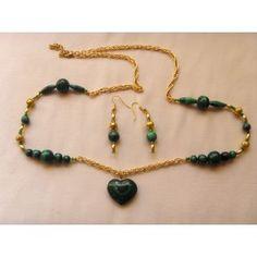 Malachite heart necklace, 79cm Malachite, Gemstone Jewelry, Women Jewelry, Beaded Bracelets, Range, Jewellery, Gemstones, Lady, Heart