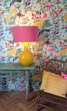 Wall paper Manuel Canovas Room Colors, Wall Colors, House Colors, Colours, Kitchen Wallpaper, Wall Wallpaper, Bohemian Interior, Bohemian Decor, Colourful Living Room