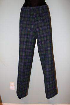 Vintage PENDLETON Portland Navy & Green Tartan Plaid Wool Trousers NICE 28 waist #Pendleton
