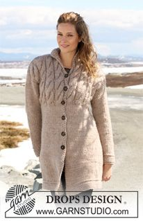 """Knitted DROPS jacket with cables in """"Eskimo"""". Size S-XXXL. ~ DROPS Design free pattern"""