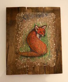 The Fox out the Back.  Experimenting with some new techniques using recycled materials. Pastel chalk on paper (about A4 size) I made from waste papers. Pasted on wooden mount made from pallet wood.