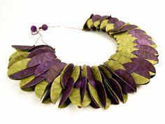 Ana Hagopian Barcelona Paper Jewelry - Necklace - Feather Snake, Purple/Green