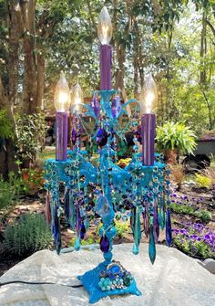 Bohemian Five Light Jeweled Candelabra, Table Chandelier, Teal Crystal Candelabra, Vintage Girandole, Vintage Lighting, Gypsy Lighting by sheriscrystals on Etsy