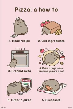 Shop Pusheen Poster Pizza Recipe. One of many items available from our Posters, Prints, & Visual Artwork department here at Fruugo!
