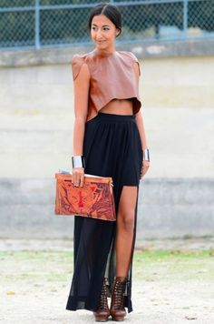 leather top with shoulder details + maxi skirt + tribal inspired leather clutch. #work