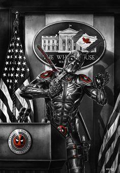#Deadpool #Fan #Art. (Deadpool The Patriot BW version) By: WhileyDunsmoreArt.