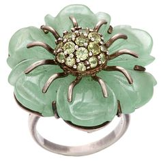 Sweet as Summer: Jade and Peridot Flower Ring