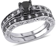 1-1/4 CT. T.W. Enhanced Black and White Diamond Vintage-Style Bridal Set in Sterling Silver