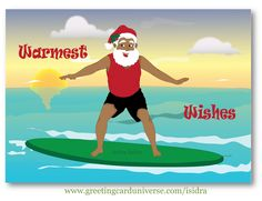 """Funny Christmas Card – Warmes wishes.  Black (African American) Santa enjoying the nice warm beach and surfing at sunset.  He is wearing black shorts, red top, and a Santa hat with a piece of mistletoe. Santa seems very happy and smiling.  The front of the card reads """"Warmest Wishes"""" #Blackmen #Blacksanta #HolidayCard #ChristmasCard #AfrocentricCard  #Greeting Cards Original illustration by Isidra Sabio"""