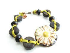 Daisy Bracelet Wood Flower Bracelet Handmade Artisan by BooBeads