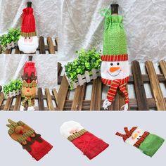 Christmas Santa/Elk/snowman Wine Bottle Gift Bag Wrap Cover Pouch Sack Home Deco