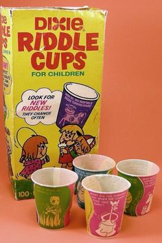 I remember having these Dixie Riddle Cups as a child. 1970s Childhood, Childhood Days, School Memories, Great Memories, School Days, Retro Toys, Vintage Toys, 1970s Toys, 1980s