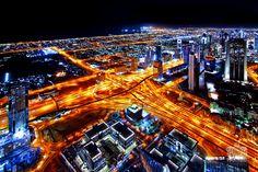 Dubai's main interchange, as seen from the observation deck of the Burj Khalifa.