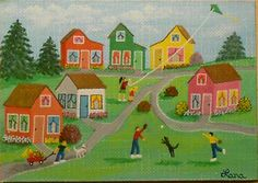 Spring 2014, Colorful Houses, Kite, Wagon Ride, Catch, Dogs, Flowers, Bushes, Trees, ACEO Art Card, packrat-2013@ebay