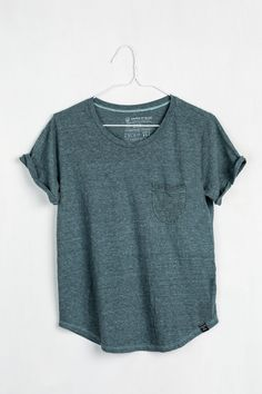 Crafted from a sustainable blend of recycled polyester, organic cotton and rayon, this lightweight tee has a draped, relaxed fit. Made in USA. For every product sold, United By Blue removes one pound