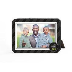 World's Best Dad Stripe Desktop Plaque, Ticket, 5 x 7 inches, Black