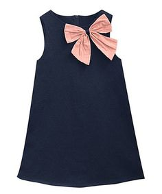 Look at this #zulilyfind! Navy & Peach Suzy Dress - Infant, Toddler & Girls #zulilyfinds