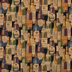 Wine Cellar Multi Color Bottles Theme Tapestry Upholstery Fabric