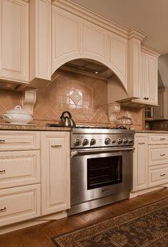 Stately Cream & Cherry traditional kitchen Kitchen Cabinet Design, Kitchen Cabinets, Antique White Cabinets, Traditional Kitchen, Houzz, Future House, Building, Cherry, Design Ideas