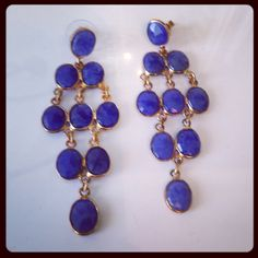 Abby Genuine Stone Chandelier Earrings Blue