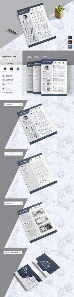 Resume - CV is a professional, clean, & creative resume… #resume #template #2017
