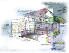 "Presentation sketch of ""Popcorn Jones"" store interior"