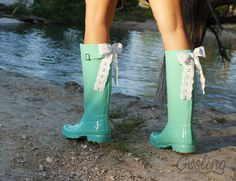 Ladies Monogram Rubber Boots rain boots with bow by GoslingBoots