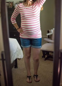 Stitch Fix Maternity Charlote Ruched Side Maternity Knit Top. Cute top and shorts! Love this top and shorts!!