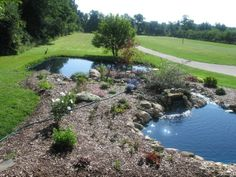 Homemade Pond ~ Our pond at our old home. Small pond with small waterfall, stream leading into a waterfall into a large pond. Created from a blank hill in the front yard, no landscapers, just us. Moral of the story: Use your own creativity to create your dreams!