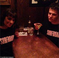 "We spy Glee stars Lea Michelle and Jonathan Groff rocking ""Surfboard"" sweatshirts"