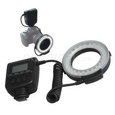 48 LED Macro Ring Flash Light For Canon Nikon Panasonic Olympus DSLR w/ LCD