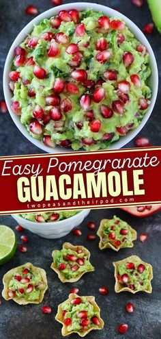 Put a fun and festive spin on your usual guacamole with this Pomegranate Guacamole recipe! Guacamole is always a good idea and the pomegranate arils make this guacamole extra special. This easy new year recipe is the perfect party dip and appetizer. Pin this holiday dip!