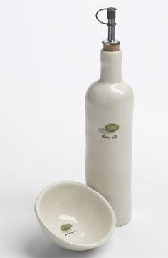 Rae Dunn by Magenta Olive Bowl & Oil Cruet Set