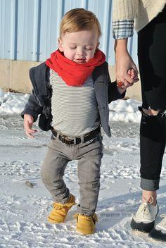 Hanes' outfit:  onesie: H  jeans: Gap  blazer: Gap  scarf: Zara  moccs: c/o Freshly Picked  belt: c/o My Baby Belts