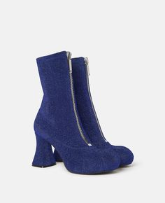 Navy Ankle Boots, Leather Ankle Boots, Stella Mccartney, Duck Boots, Short Boots, Toe Shape, Leather Material, Block Heels, Patent Leather