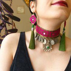 Diy Fabric Jewellery, Antique Jewellery Designs, Fancy Jewellery, Fabric Earrings, Thread Jewellery, Handmade Jewelry Designs, Textile Jewelry, Diy Jewelry Necklace, Jewelry Design Earrings