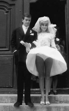 Catherine Deneuve and David Bailey on their wedding day (love that skirt and skivvies!)