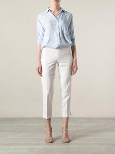 BRUNELLO CUCINELLI - cropped trouser 7 . cotton white . http://www.farfetch.com/shopping/women/brunello-cucinelli-cropped-trouser-item-10601425.aspx