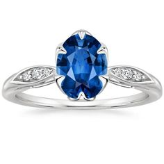 Blue Sapphire Peony Engagement Ring - 18K White Gold