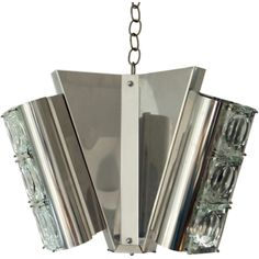 Italian Murano Glass & Steel Chandelier