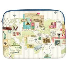 This stunning vintage Bon Voyage Laptop Sleeve by Disaster Designs depicts travel memories with vintage styling. Neoprene Laptop Sleeve, Laptop Sleeves, Laptop Covers, Laptop Case, Quirky Gifts, Unique Gifts, Travel Collage, Disaster Designs, Everything Is Awesome