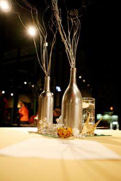 28 Ideas for diy wedding centerpieces coral wine bottles Wine Bottle Centerpieces, Wedding Wine Bottles, Simple Centerpieces, Wedding Centerpieces, Wedding Decorations, Centerpiece Ideas, Bottle Painting, Bottle Art, Silver Spray Paint