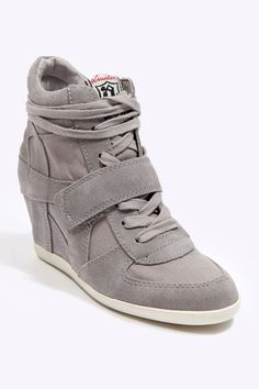 Ash Grey Suede & Canvas Wedge Trainers by Urban Outfitters