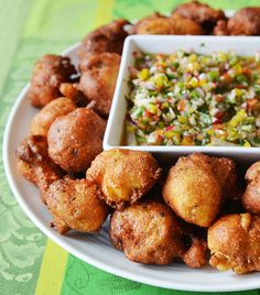 Oyster Hush Puppies with Pepper Mojo #recipe