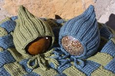 Entrelac Twin Set   Blanket & 2 Pixie Bonnets for by BelleeBees, $110.00