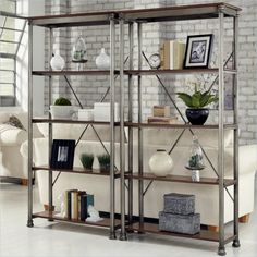 Home Styles The Orleans Multi Function 5 Shelf Unit Gray Bookcases At Hayneedle