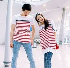 2011 Korean Style Strips Leisure Short Sleeve Couple T-shirt