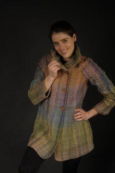 handwoven beauty by arlene wohl My Wardrobe, Wearable Art, Hand Weaving, Fur Coat, High Neck Dress, Fantasy, Jackets, Beauty, Dresses